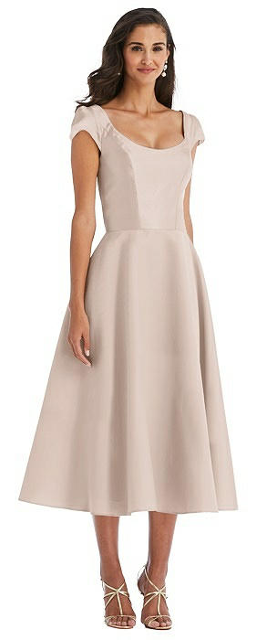Puff Cap Sleeve Full Skirt Satin Midi Dress