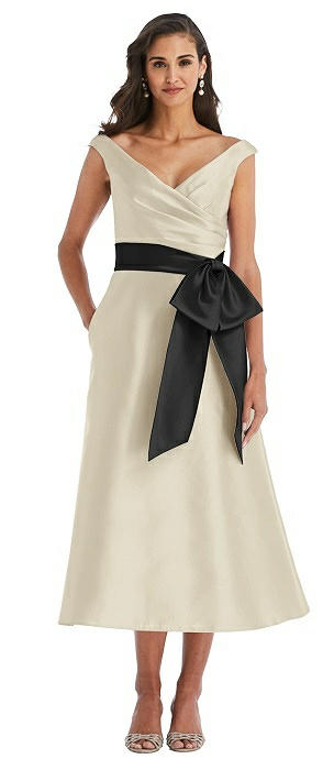 Off-the-Shoulder Bow-Waist Midi Dress with Pockets