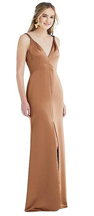 Twist Strap Maxi Slip Dress with Front Slit - Neve