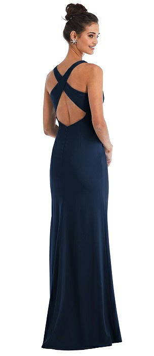 Criss-Cross Cutout Back Maxi Dress with Front Slit