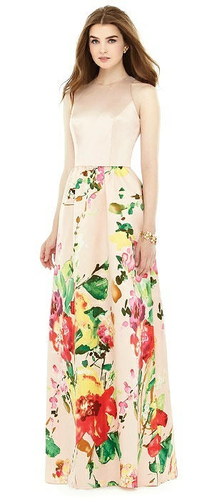 Sleeveless Floral Skirt Maxi Dress with Pockets