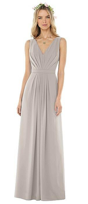 Sleeveless V-Pleat Sheer Crepe Dress