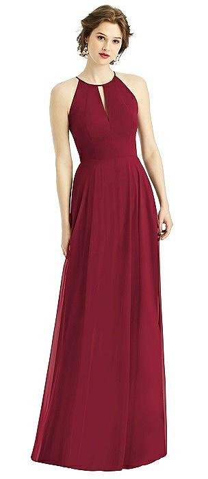Keyhole Halter Chiffon Maxi Dress