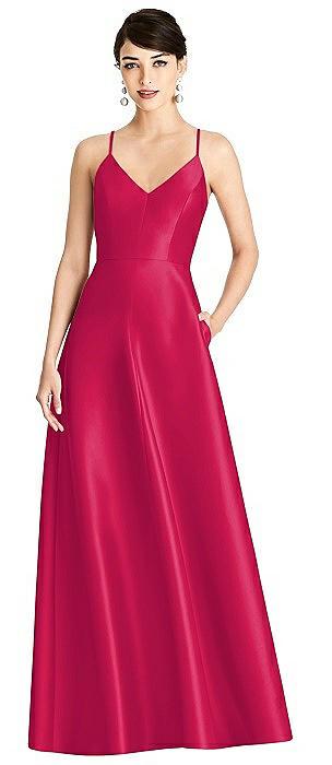 V-Neck Full Skirt Satin Maxi Dress