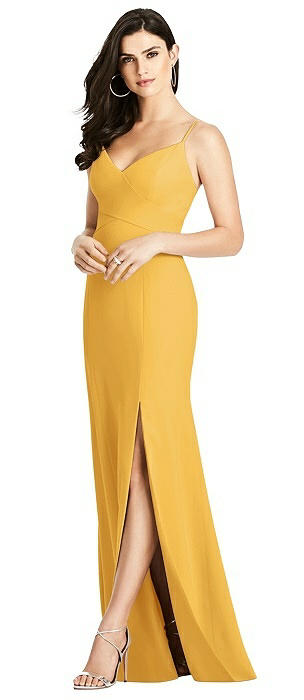 Seamed Bodice Crepe Trumpet Gown with Front Slit