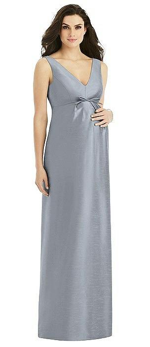 Sleeveless Satin Twill Maternity Dress