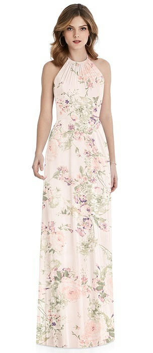 Cutout Tie Back Halter Maxi Dress