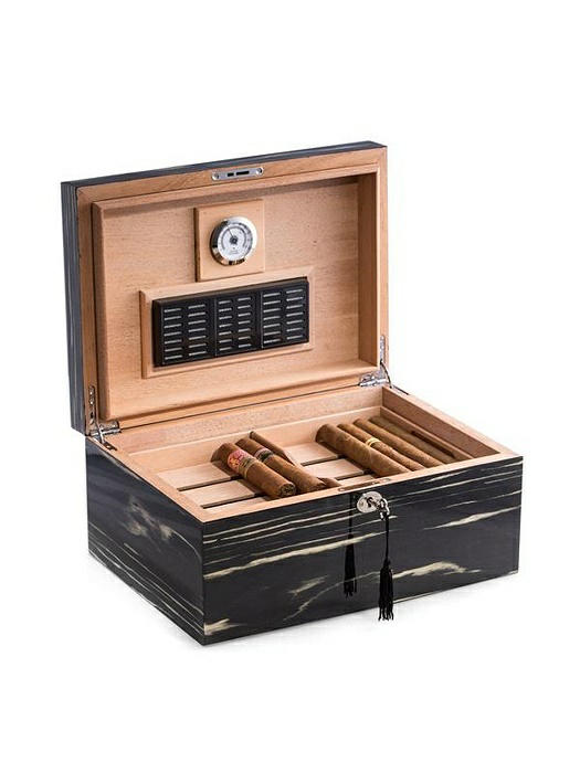 """Lacquered """"Ebony"""" Wood 100 Cigar Humidor with Removable Tray"""