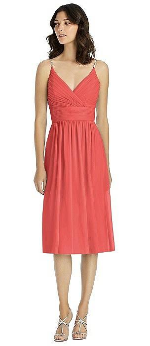 Jeweled Strap Draped Wrap Cocktail Dress