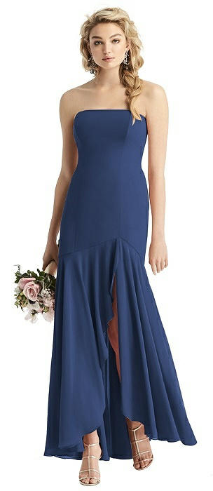 Strapless Sheer Crepe High-Low Dress