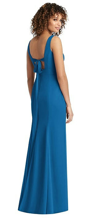 Sleeveless Tie Back Chiffon Trumpet Gown