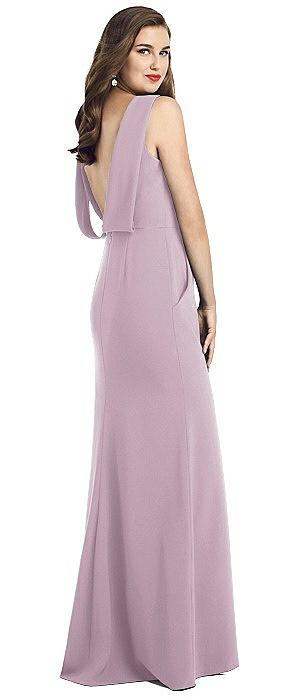 Draped Backless Crepe Dress with Pockets