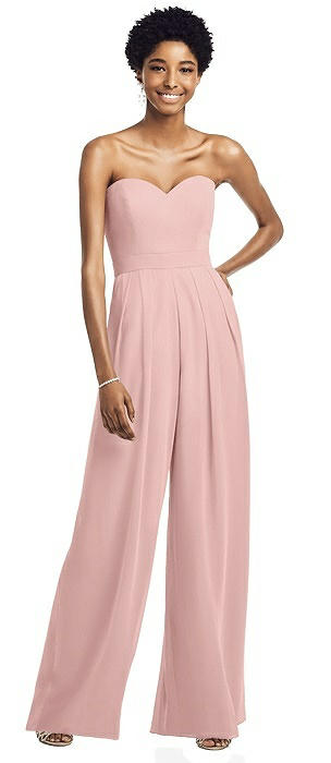 Strapless Chiffon Wide Leg Jumpsuit with Pockets