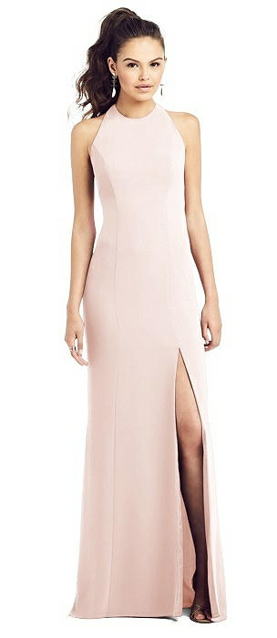 Open-Back Jewel Neck Trumpet Gown with Front Slit