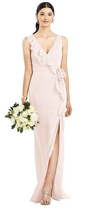 Sleeveless Ruffled Wrap Chiffon Gown