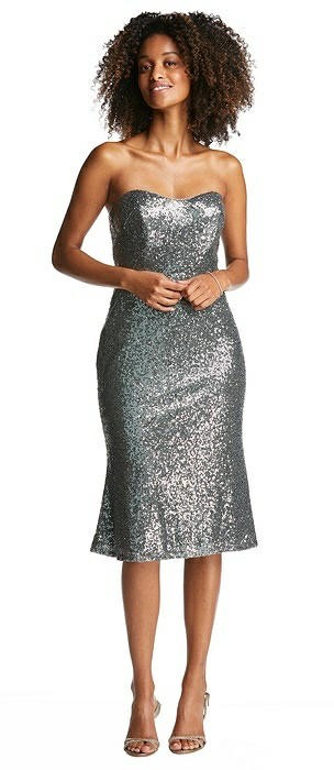 Strapless Sequin Midi Dress with Flared Skirt