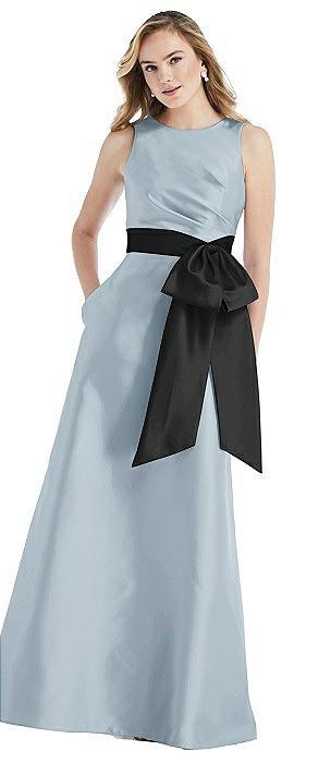 High-Neck Bow-Waist Maxi Dress with Pockets