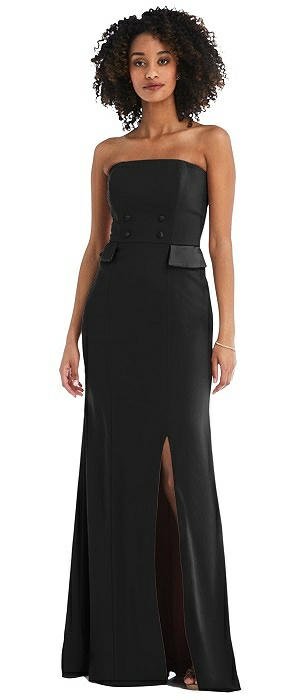 Strapless Tuxedo Maxi Dress with Front Slit