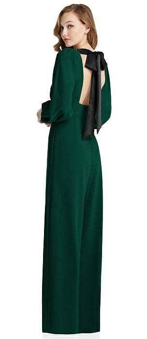 Bishop Sleeve Open-Back Jumpsuit with Scarf Tie