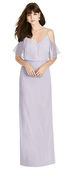 Ruffled Cold-Shoulder Blouson Maxi Dress