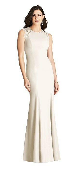 Sleeveless Lace Back Trumpet Gown