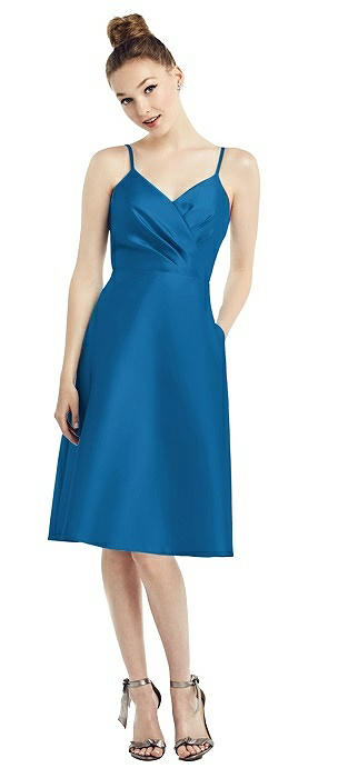 Draped Faux Wrap Cocktail Dress with Pockets