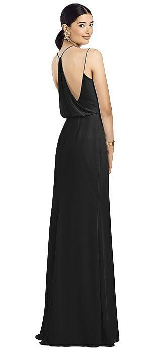 Draped Blouson Back Chiffon Maxi Dress