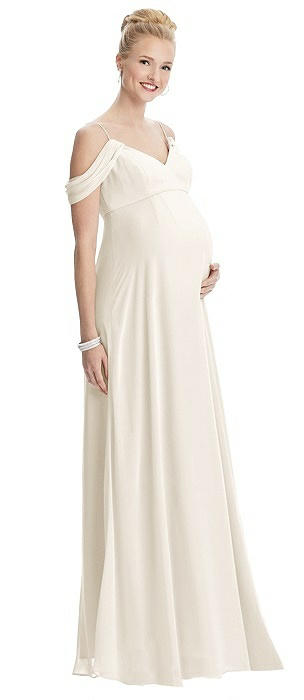 Draped Cold-Shoulder Chiffon Maternity Dress