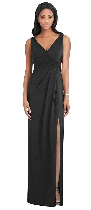 Draped Wrap Maxi Dress with Front Slit - Sena