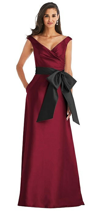 Off-the-Shoulder Bow-Waist Maxi Dress with Pockets