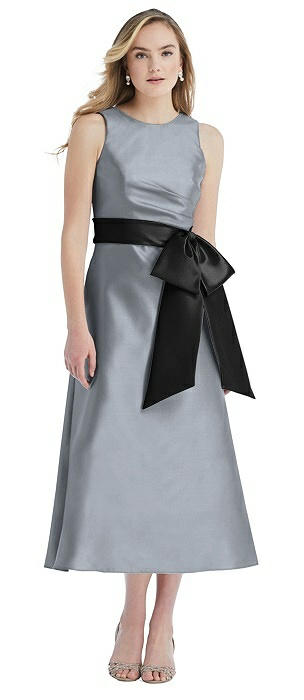 High-Neck Bow-Waist Midi Dress with Pockets