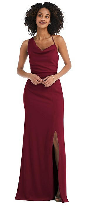 One-Shoulder Draped Cowl-Neck Maxi Dress