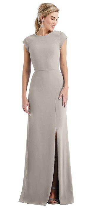 Cap Sleeve Open-Back Trumpet Gown with Front Slit