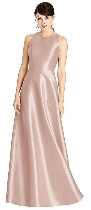 Sleeveless Open-Back Satin A-Line Dress