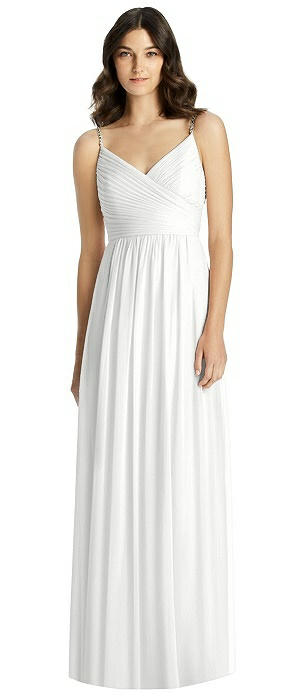 Jeweled Strap Shirred Wrap Maxi Dress