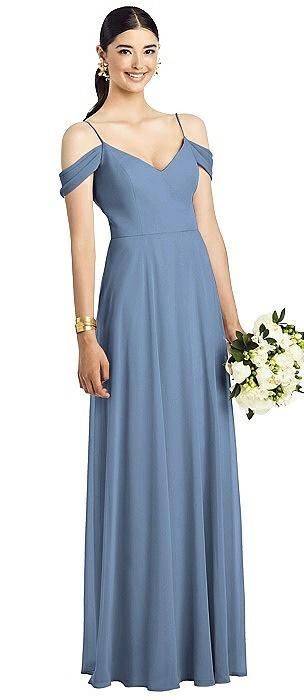Cold-Shoulder V-Back Chiffon Maxi Dress