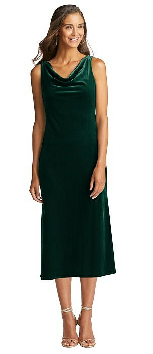 Cowl-Neck Velvet Midi Tank Dress - Rowan