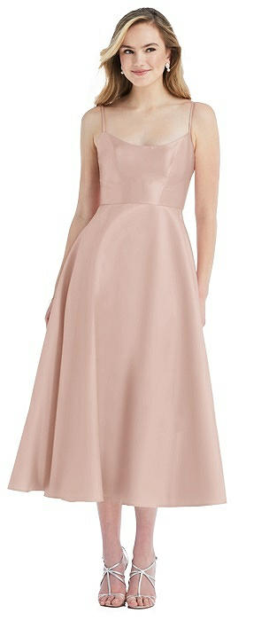 Spaghetti Strap Full Skirt Satin Midi Dress