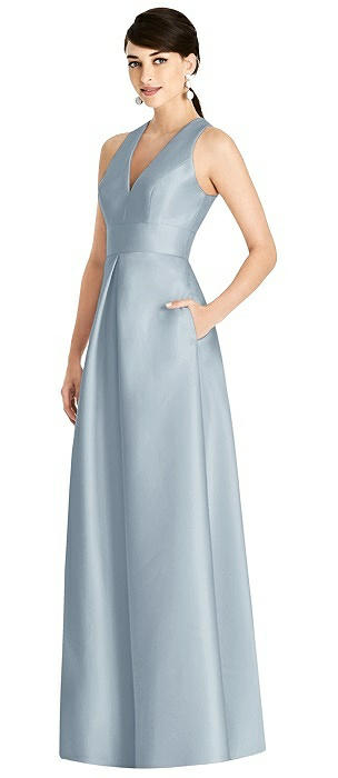Sleeveless Open-Back Pleated Skirt Dress with Pockets