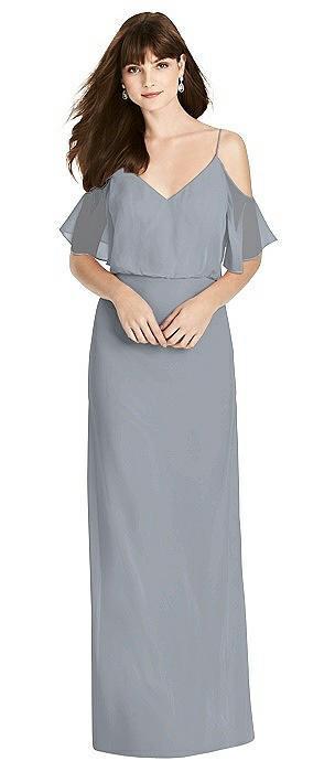 Ruffled Cold-Shoulder Blouson Maxi Dress