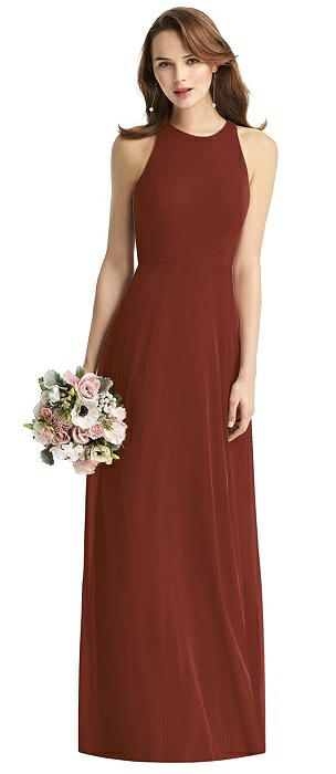 Sleeveless Halter Chiffon Maxi Dress