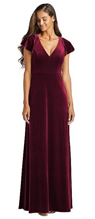 Flutter Sleeve Velvet Maxi Dress with Pockets