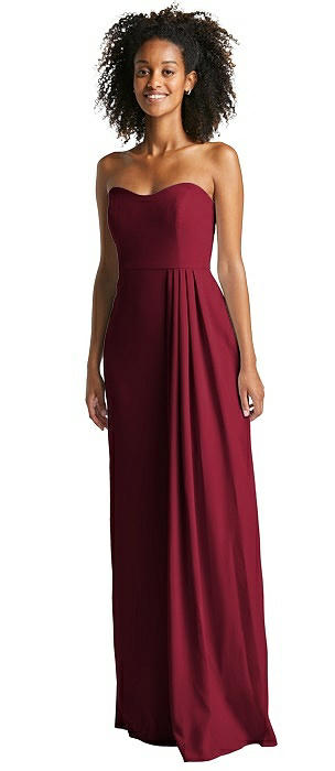 Strapless Maxi Dress with Pleated Drape Skirt