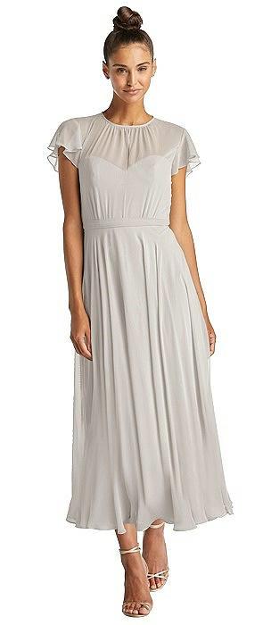 Flutter Sleeve Illusion Bodice Midi Dress