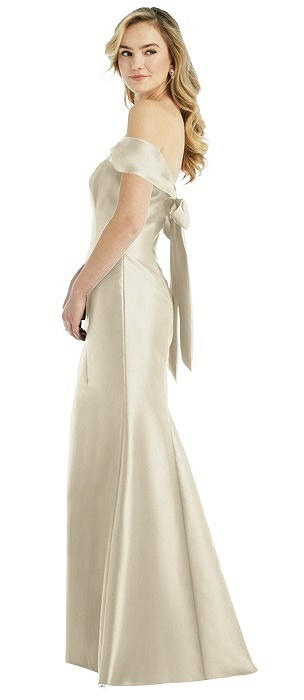 Off-the-Shoulder Bow-Back Satin Trumpet Gown