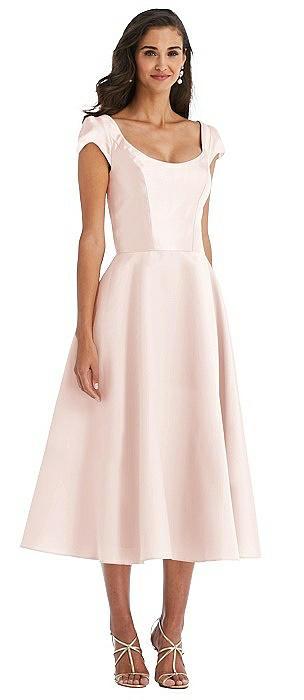 Puff Cap Sleeve Full Skirt Satin Midi Dress