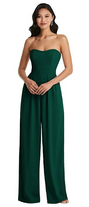 Strapless Pleated Front Jumpsuit with Pockets