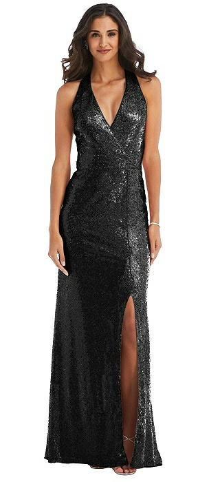 Halter Wrap Sequin Trumpet Gown with Front Slit
