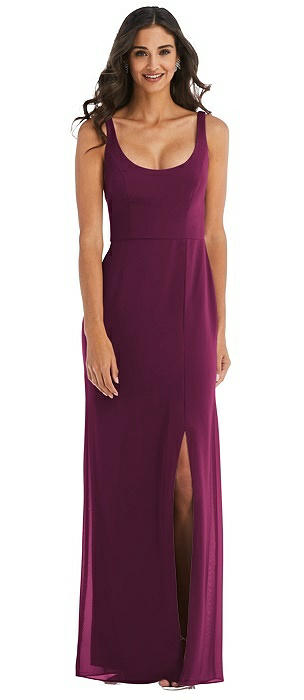 Scoop Neck Open-Back Trumpet Gown