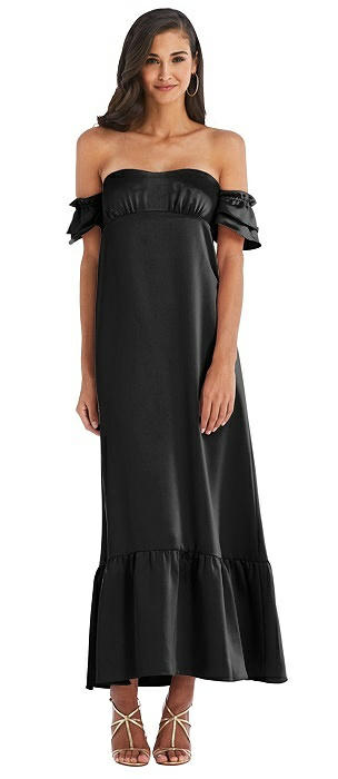 Ruffled Off-the-Shoulder Tiered Cuff Sleeve Midi Dress